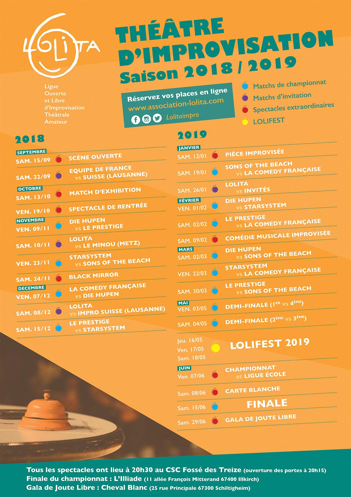 Comedie Francaise Calendrier.Le Calendrier Du Championnat De La Lolita 2018 2019 Lolita